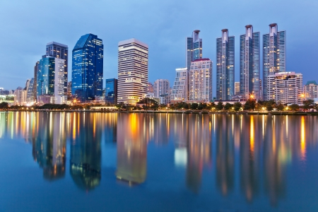 Bangkok city downtown at night with reflection in the lake Stock Photo - 18279652