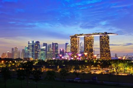 SINGAPUR - 14 de abril: Nightscape de Singapur Marina Bay Sand y el jardín junto a la bahía de Marina Barrage el 14 de abril de 2013, la ciudad de Singapur. Singapur Foto de archivo - 19256985