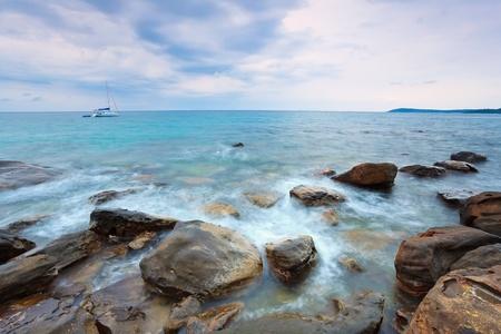 kood: rock coast before rain storm at Koh Kood island Thailand