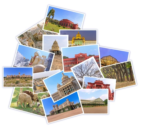 photos of tourist attraction at Bangalore City India collages in shape of bangalore map on white background Editorial
