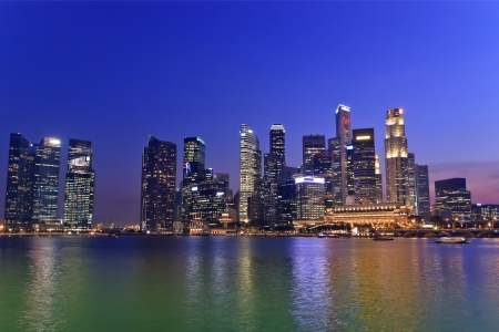 jachthaven: Singapore skyline in de Marina Bay