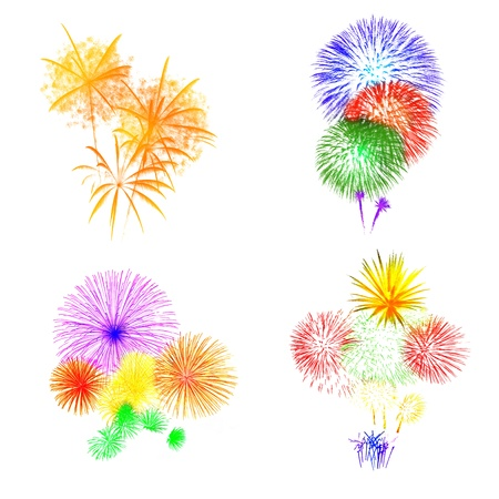 different type fireworks on white background photo