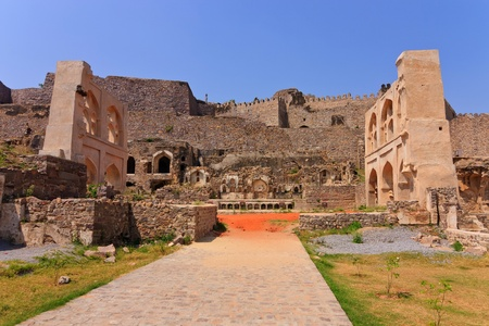 old ruin city of Golkonda Fort, Hyderabad India photo