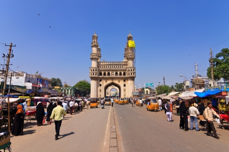 HYDERABAD INDIA - MARCH 5 : The Charminar is a Islamic architecture monument and mosque made from granite, limestone, mortar and pulverised marble, built in 1591. On March 5,2011 Hyderabad, India. Editorial