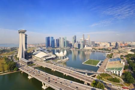 Singapore skyline uitzicht vanaf Singapore flyer Redactioneel