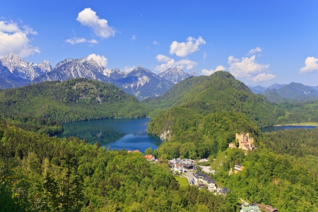 Landscape of Bavarian Alps in Germany and Hohenschwangau Castle