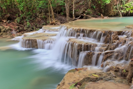 kamin: Hui Mae Kamin Waterfall in National Park, Kanchanaburi, Thailand Stock Photo