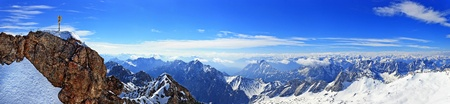Panorama view of alpine alps from Zugspitze top of Germany photo