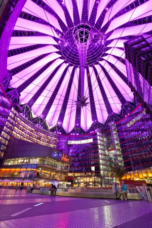 BERLIN, GERMANY - JUNE 10: The Sony Center ceiling with the light show on June 10, 2013 in Berlin, Germany. The Sony Center is a Sony sponsored building complex located at the Potsdamer Platz