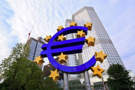 ecb: FRANKFURT, GERMANY - JUNE 14: the Euro sign outside the European Central Bank (ECB) on JUNE 14, 2013 in Frankfurt Germany. The ECB is building new premises in Frankfurt, due for completion in 2013.