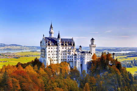 Beautiful autumn view of the Neuschwanstein castle  Fussen Bavaria, Germany