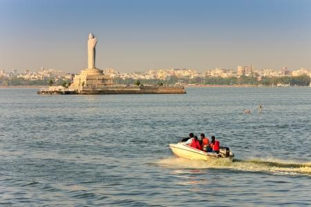 sagar: statue of the Gautam Buddha in the middle of the lake Hussain Sagar, Hyderabad, India