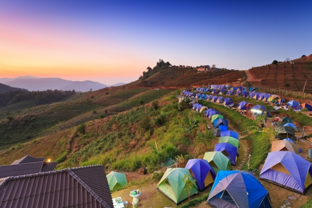settled: camping tent at dawn on the mountain in Chiangmai Thailand