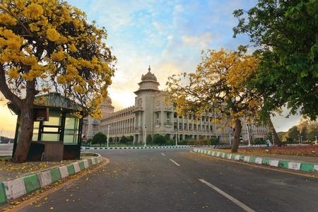 sunset at Vidhana Soudha the state legislature building in Bangalore, India