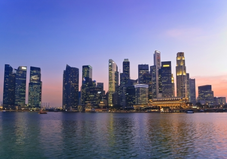 sunset at Marina Bay and Singapore skyline