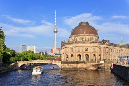 bode: Bode Museum on museum island with Spree river and Alexanderplatz TV tower, Berlin, Germany