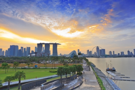 marina bay: Singapore skyline when sunset
