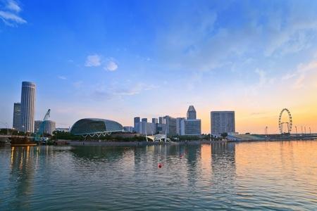 Singapore skyline when sunrise Editorial