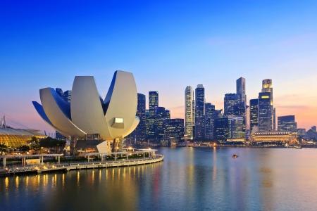 Singapore Skyline en uitzicht op Marina Bay