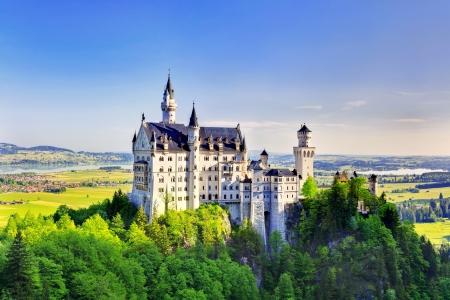 landmark: Beautiful summer view of the Neuschwanstein castle  Fussen Bavaria, Germany