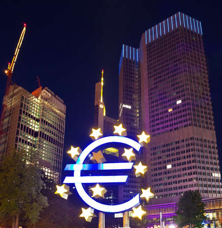FRANKFURT, GERMANY - JUNE 14  the Euro sign outside the European Central Bank  ECB  on JUNE 14, 2013 in Frankfurt Germany  The ECB is building new premises in Frankfurt, due for completion in 2013
