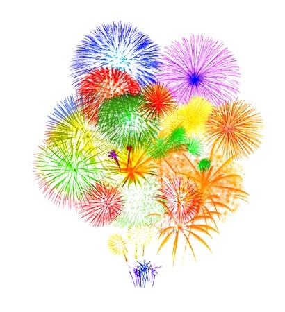 Fireworks on white background Standard-Bild