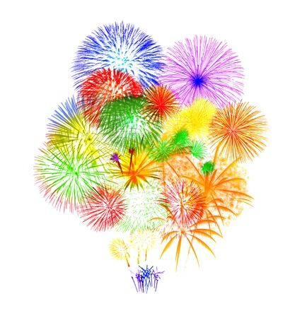 Fireworks on white background photo