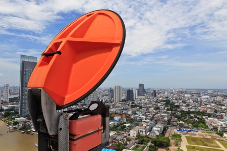 microwave antenna: microwave antenna and view of urban city