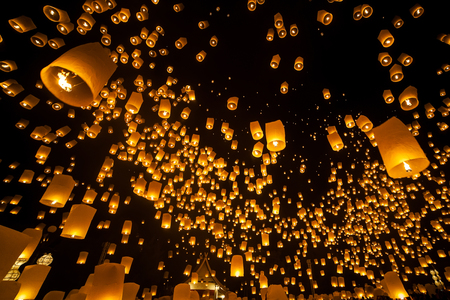 Loi Krathong and Yi Peng Festival , Chiangmai, Thailand photo