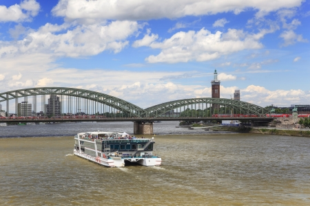 Cologne city and Rhine river, Germany Stock Photo