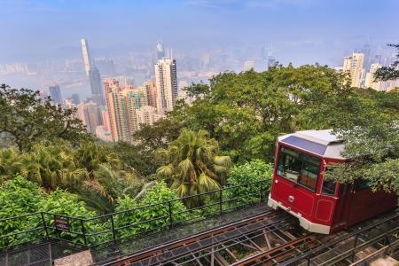 De Victoria Peak Tram en Hong Kong skyline van de stad Stockfoto