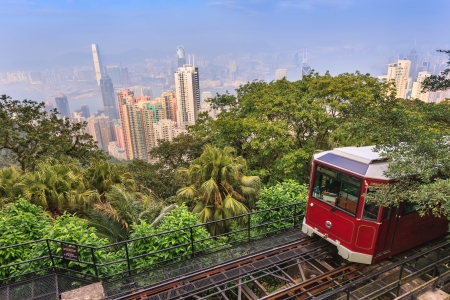The Victoria Peak Tram and Hong Kong city skyline Stok Fotoğraf