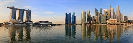 merlion: panorama of Singapore skyline at Marina Bay in the morning