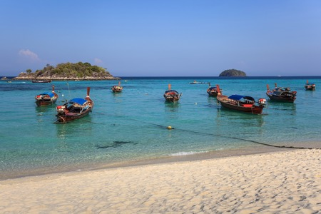 longtail: Longtail boat and beautiful beach of Koh Lipe, Thailand Stock Photo