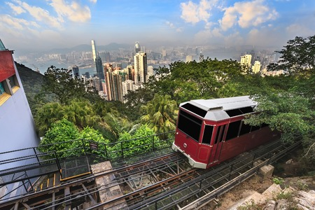 The Victoria Peak Tram and Hong Kong city skyline Editorial