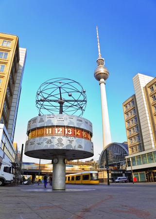Tv tower and world clock at Alexanderplatz train station, Berlin, Germany Stock Photo