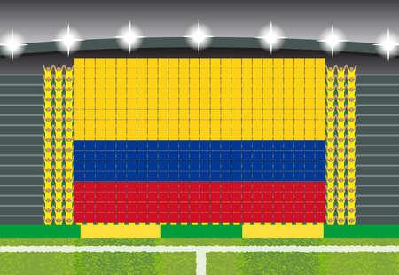 football fan: football fan cheering stadium transform into Columbia flag