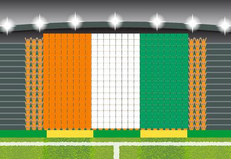 football fan: football fan cheering stadium transform into Ivory Coast flag
