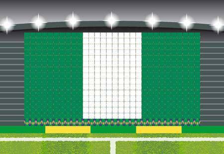 football fan: football fan cheering stadium transform into Nigeria flag