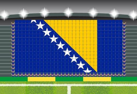 football fan: football fan cheering stadium transform into Bosnia and Herzegovina flag Illustration