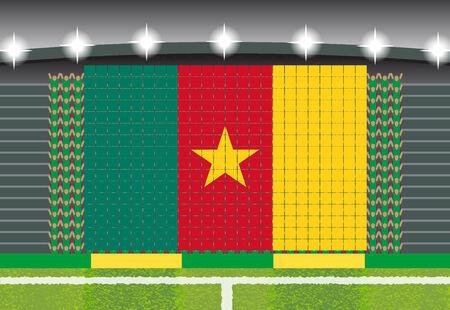 football fan: football fan cheering stadium transform into Cameroon flag Illustration