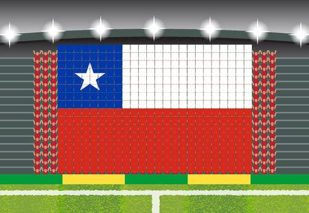 football fan: football fan cheering stadium transform into Chile flag
