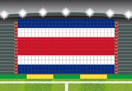 football fan: football fan cheering stadium transform into Costa Rica flag