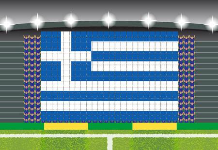 football fan: football fan cheering stadium transform into Greece flag