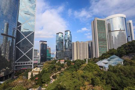 city park skyline: Hong Kong city skyline at Hong Kong park