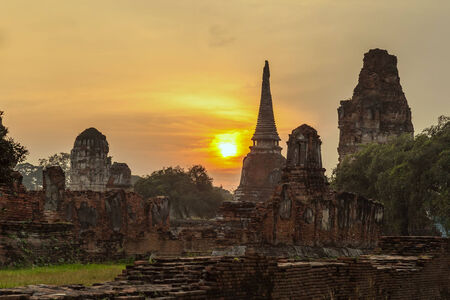 ayutthaya: sunset at Ayutthaya Historical Park, Thailand Stock Photo