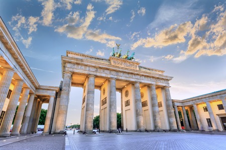 sunset at Brandenburg Gate of Berlin, Germany photo