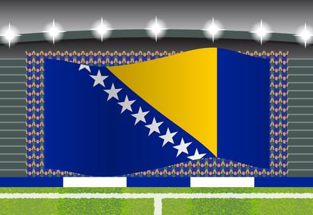 football fan: Bosnia and Herzegovina football fan cheering on stadium with flag Illustration