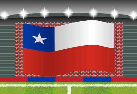 football fan: Chile football fan cheering on stadium with flag Illustration