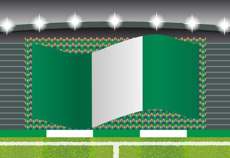 football fan: Nigeria football fan cheering on stadium with flag Illustration